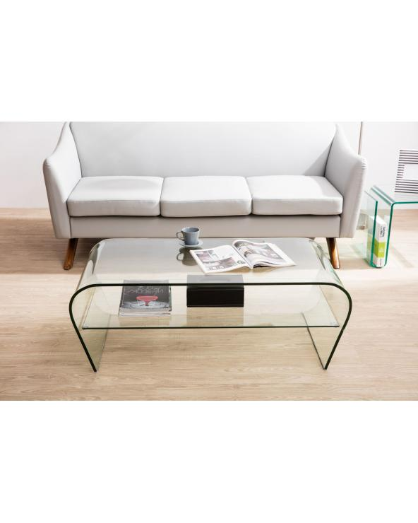Curved glass coffee table with shelf Arika 110 cm