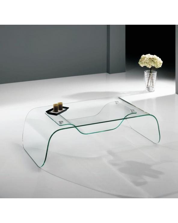 Coffee table with curved glass Arinya 120 cm