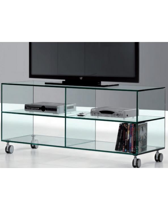 Glass TV table with wheels Kolet 125 cm
