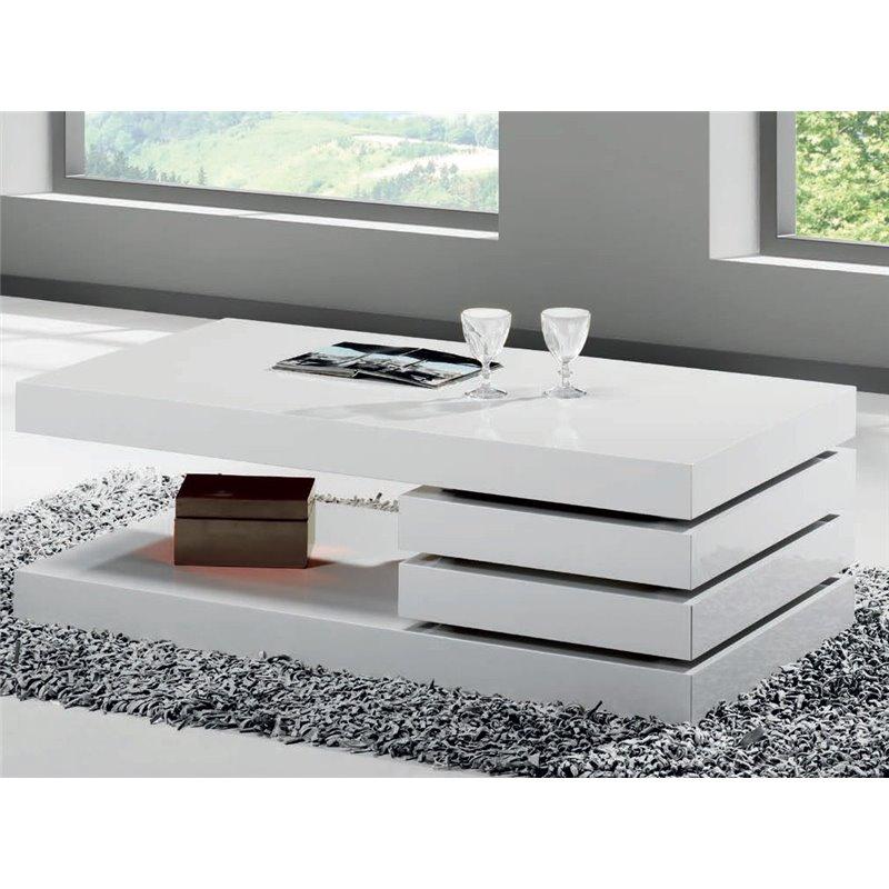 Mesa de centro Mini blanca con dos cajones Vesela 90 cm