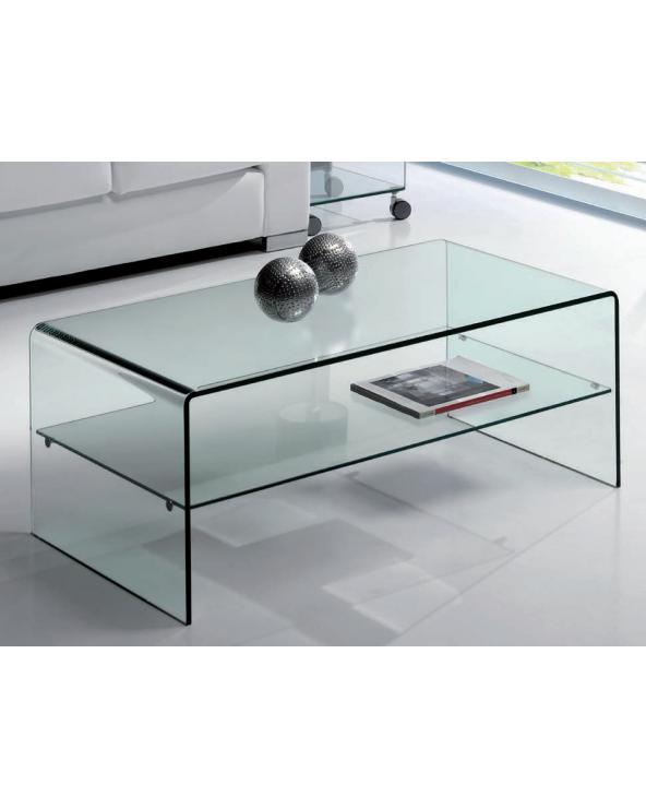 Mesa de centro cristal curvado con estante Cardinia 110 cm