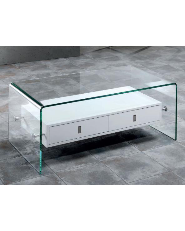 Mesa de centro cristal curvado con dos cajones Darel 110 cm