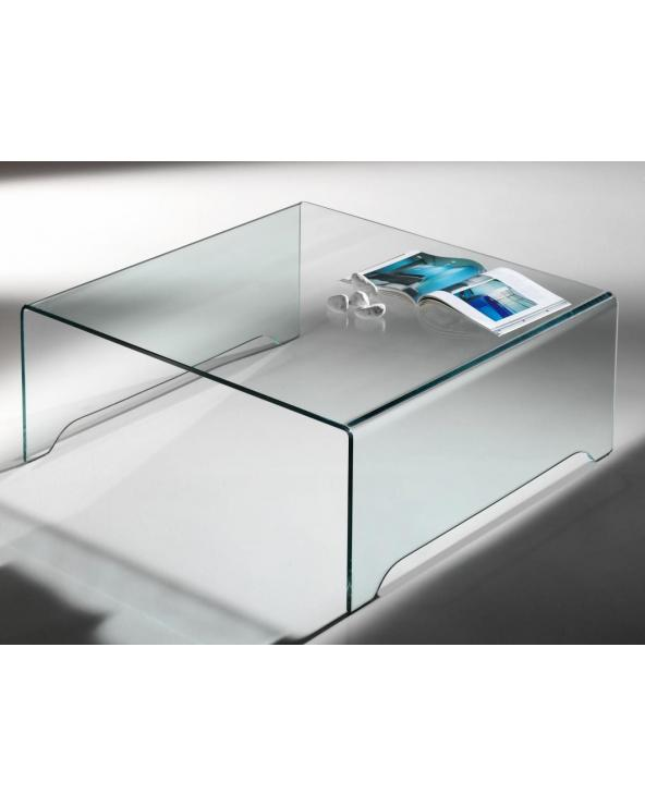 Mesa de centro de cristal curvado transparente Amarina 100 cm